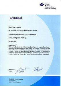 Zertifikat 'Elektrische Sicherheit von Maschinen - Ausrüstung und Prüfung